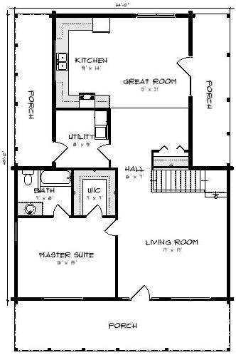 Four Oaks II Log Cabin Plan 3