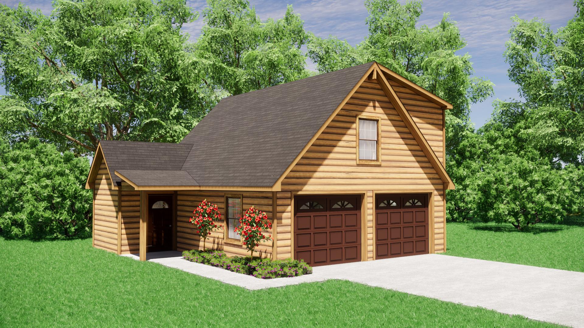 Log Sided Garage Plans 4
