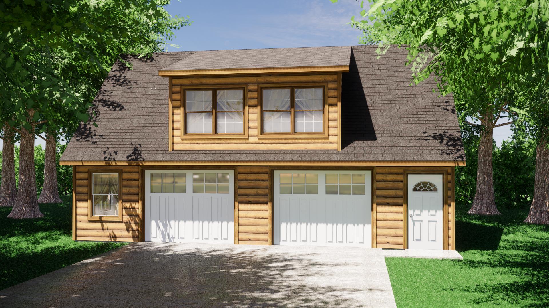 Log Sided Garage Plans 5