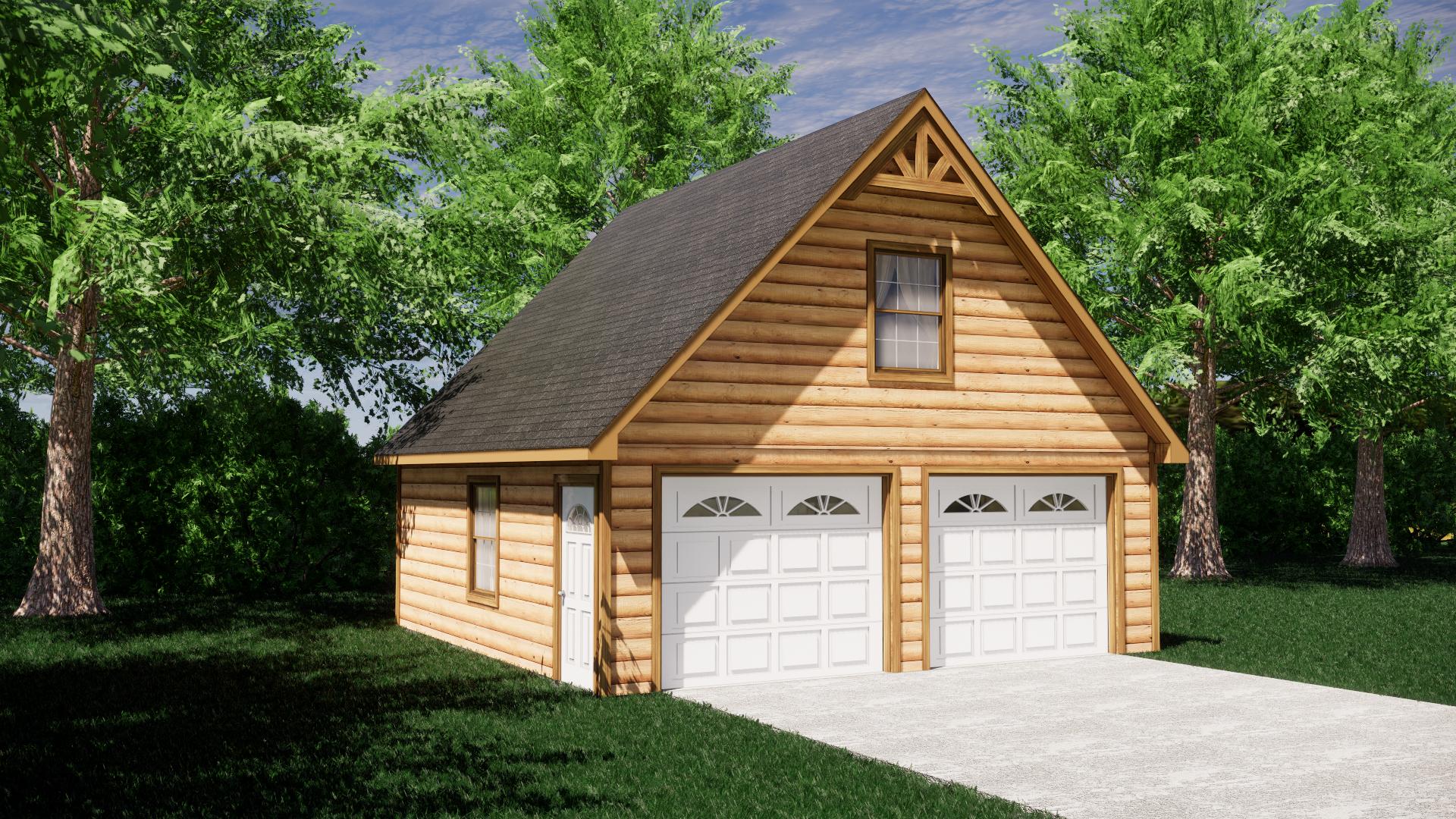 Log Sided Garage Plans 8